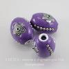 """Бусина """"Индонезийская"""" ручной работы фиолетовая, овальная, 21х17 мм"""
