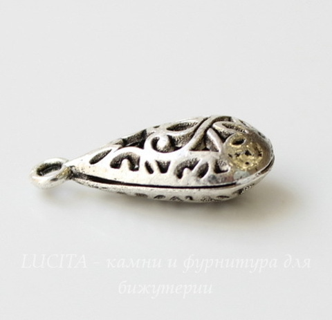 """Подвеска """"Капля"""" ажурная (цвет - античное серебро) 24х12 мм"""