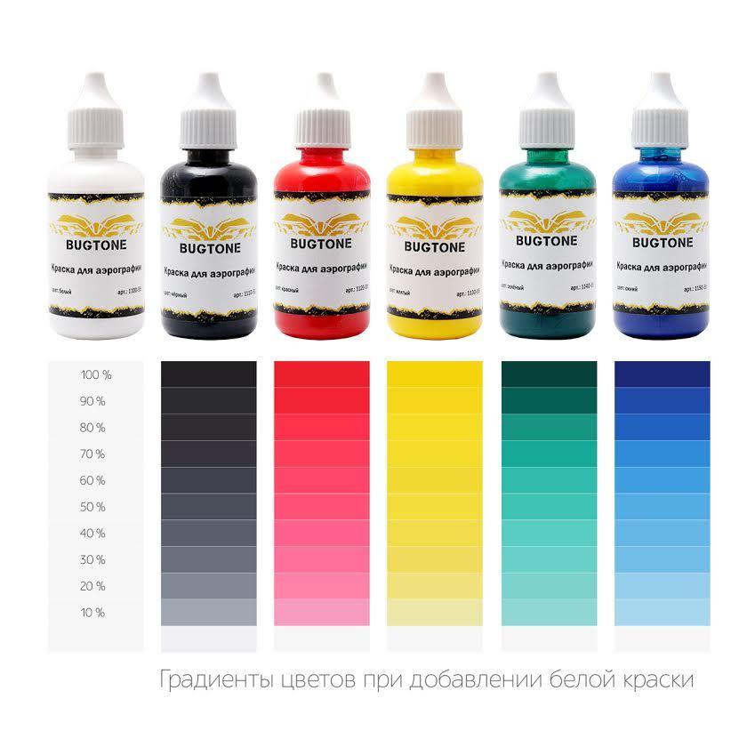 Краска Bugtone для аэрографии водорастворимая Black (Черная), 55мл