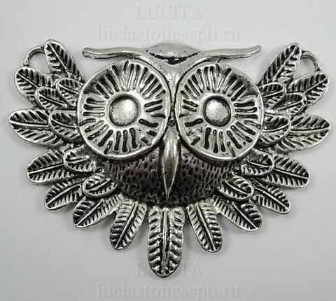 """Коннектор (1-1) """"Сова"""" 56х41 мм (цвет - античное серебро)"""