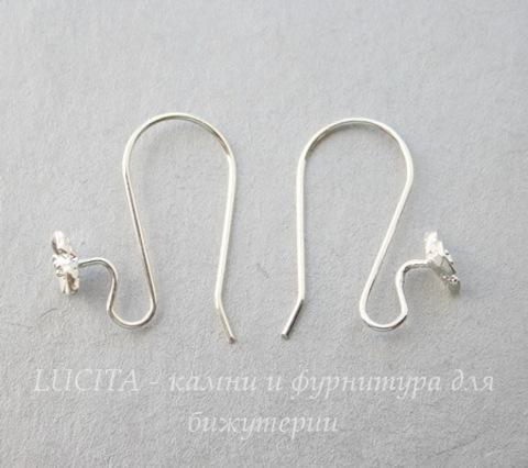 Швензы - крючки с цветком (цвет - серебро) 22х17 мм