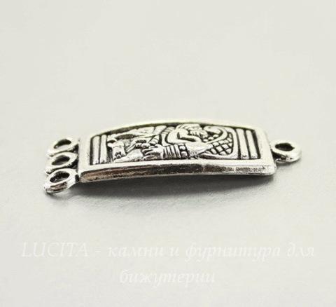 "Коннектор ""Майя"" (1-3) 37х16 мм (цвет - античное серебро)"