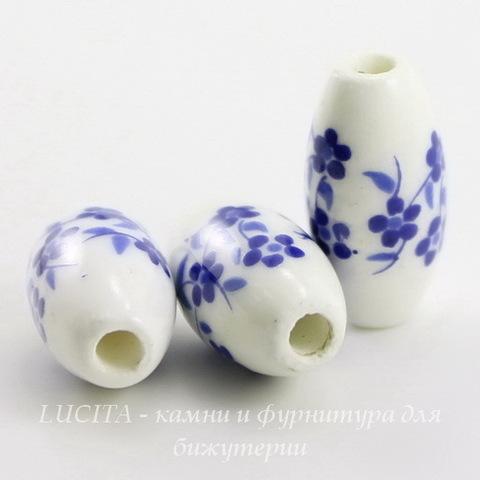 """Бусина фарфоровая овальная """"Незабудки"""", цвет - белый с синим, 16х8 мм"""