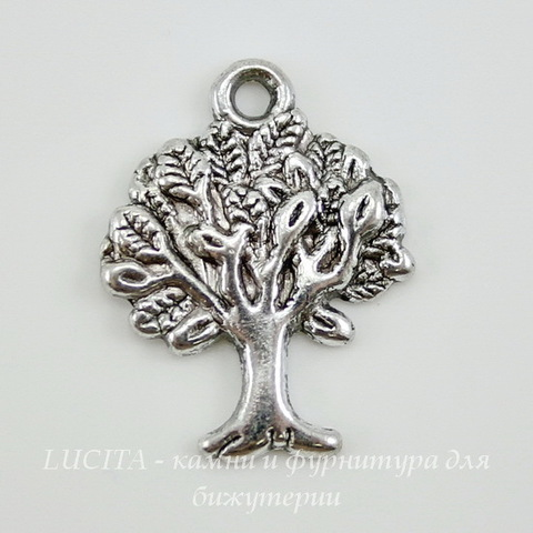 "Подвеска ""Дерево"" (цвет - античное серебро) 21х16 мм"