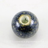 Бусина фарфоровая шарик, цвет - темный синий с желтыми крапинками, 10 мм