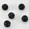 Бусина для шамбалы с фианитами, цвет - черный, 10 мм