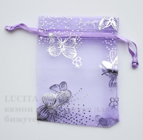 """Подарочный мешочек из органзы """"Бабочки"""" фиолетовый с серебряным, 9х7 см"""