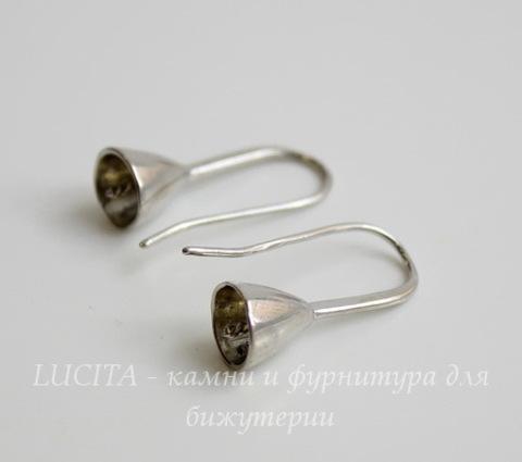 Швензы - крючки со штырьком для бусины, 22х12 мм (цвет - античное серебро), пара