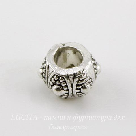 Бусина металлическая рондель (цвет - античное серебро) 10х7 мм