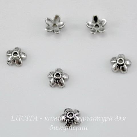 """Шапочка для бусины """"Маленький цветочек"""" 6х3 мм (цвет - античное серебро), 10 штук"""
