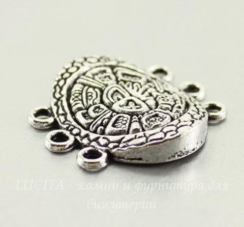 """Коннектор овальный """"Майя"""" (3-3) 28х27 мм (цвет - античное серебро)"""