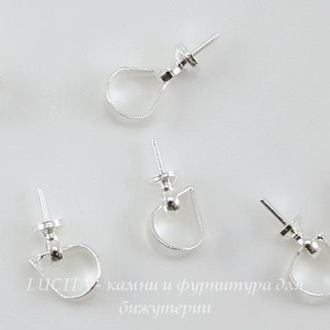 Держатель для бусины - петелька 7х3 мм (цвет - серебро), 10 штук