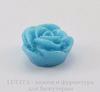 """Кабошон акриловый """"Роза"""", цвет - голубой с блестками, 13 мм"""