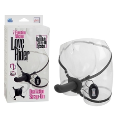 Женский страпон с бабочкой для клитора 7-Function Silicone Love Rider (15х3,75 см)
