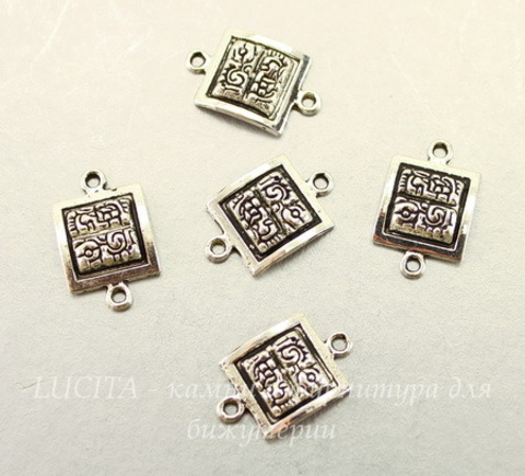 "Коннектор ""Майя"" (1-1) 19х12 мм (цвет - античное серебро), 5 штук"
