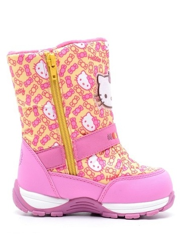 Зимние сапоги Хелло Китти (Hello Kitty) на молнии с мембраной для девочек, цвет желтый. Изображение 2 из 8.