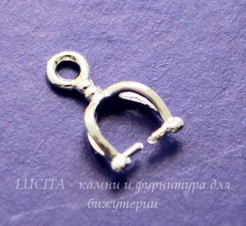 Держатель кулона маленький (цвет - серебро) 12х7 мм