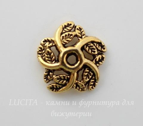 """Шапочка для бусины """"Завитки-листики"""" (цвет - античное золото) 10х3 мм, 10 штук"""