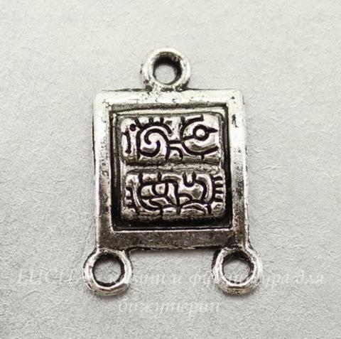 "Коннектор ""Майя"" (1-2) 19х14 мм (цвет - античное серебро), ПАРА"