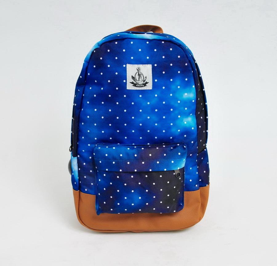 Рюкзак ЯКОРЬ Малый Бот с принтом BLUE/DOT