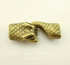 "Замок - крючок из 2х частей для плоского шнура ""Змея"" (цвет - античная бронза) 43х17 мм"