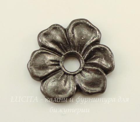 """Элемент под заклепку TierraCast """"Цветок яблони"""" (цвет-черный никель) 14х13 мм"""
