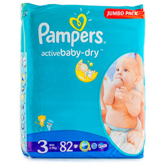 "Подгузники Pampers ""Active baby-dry Jumbo pack"" 3 midi (вес 4-9кг) 82 шт."