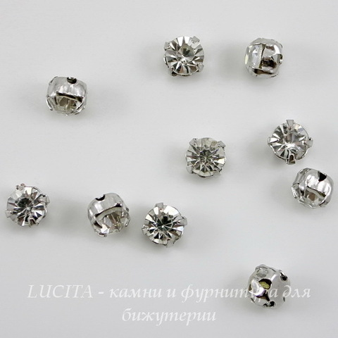 Страз в цапах Crystal (цвет - платина) 5,5х5,5 мм , 10 шт