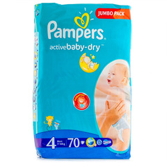 "Подгузники Pampers ""Active baby-dry Jumbo pack"" 4 maxi (вес 7-14кг) 70 шт."