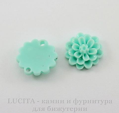 """Кабошон-коннектор акриловый """"Цветок"""" (1-1), цвет - ментоловый, 14 мм"""