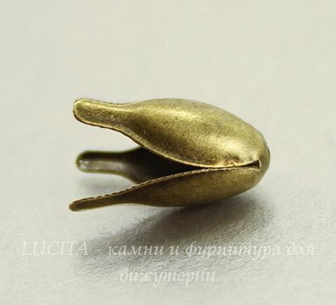 Шапочка для бусины в виде цветка (цвет - античная бронза) 13х8  мм, 10 штук