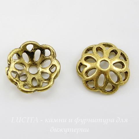 Шапочка для бусины (цвет - античное золото) 12х4 мм, 10 штук