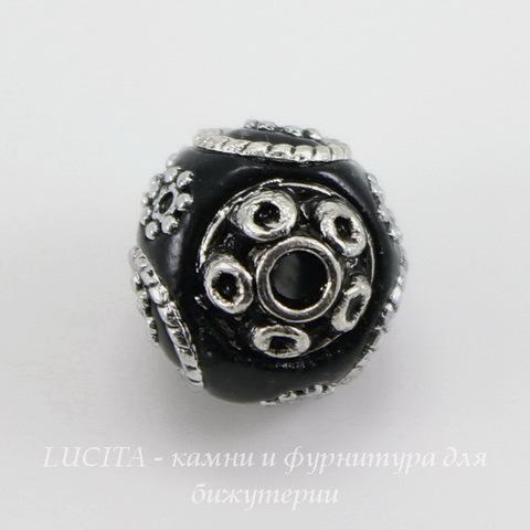 """Бусина """"Индонезийская"""" ручной работы черная, 16х15 мм"""