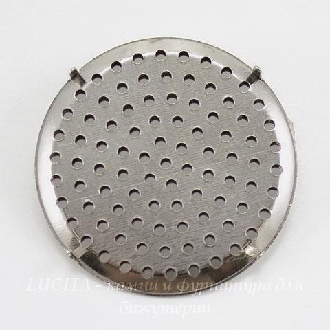Основа для броши с ситом 35 мм (цвет - платина)
