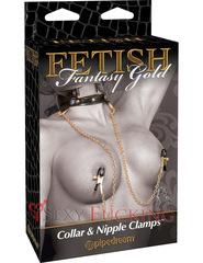 Ошейник Fetish Fantasy Gold Collar and Nipple Clamps с зажимами на соски