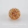 Бусина для шамбалы с фианитами, цвет - персиковый, 10 мм