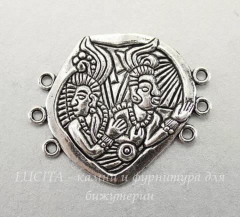"""Коннектор """"Народ Майя"""" (3-3) 43х36 мм (цвет - античное серебро)"""