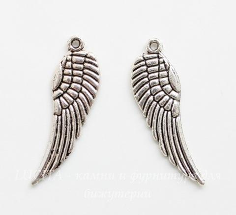 """Подвеска """"Крыло"""" (цвет - античное серебро) 30х9 мм, 5 штук"""