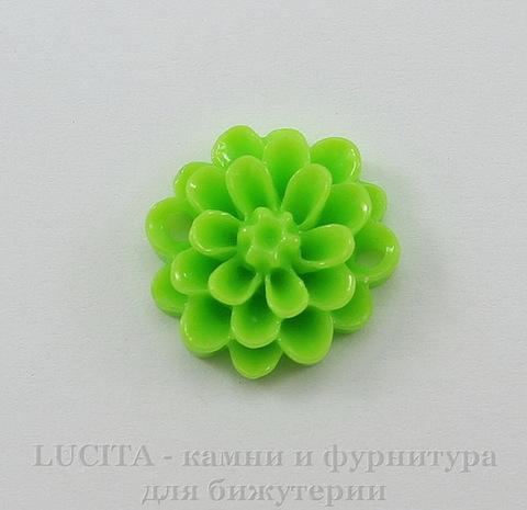 """Кабошон-коннектор акриловый """"Цветок"""", цвет - салатовый, 14 мм"""