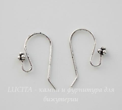 Швензы - крючки с цветком (цвет - античное серебро) 23х18 мм