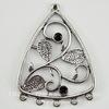 """Коннектор """"Веточка в рамке"""" (1-5) 40х30 мм (цвет - античное серебро)"""