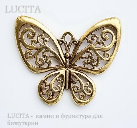 """Подвеска """"Бабочка"""" филигранная (цвет - античное золото) 57х50 мм ()"""