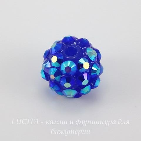 Бусина для шамбалы со стразами, цвет - синий + цветной, 12 мм