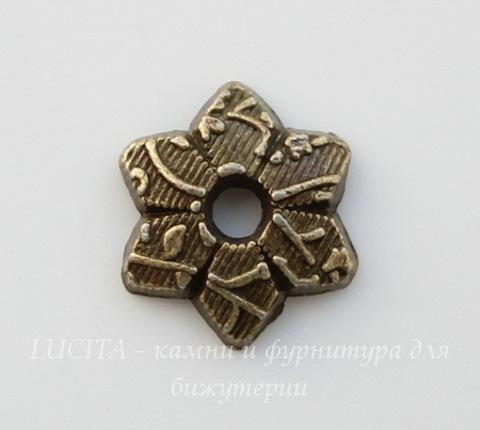 Шапочка для бусины с узором (цвет - античная бронза) 10х2 мм, 10 штук
