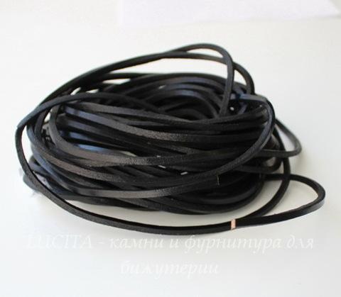 Шнур (нат. кожа),  цвет - черный, 3 мм, примерно 10 м