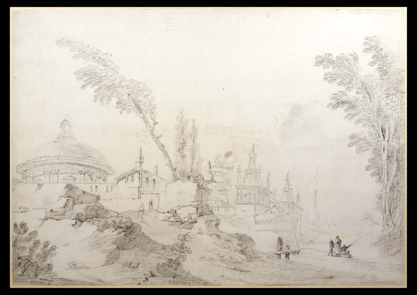 Jean-Baptiste HILAIRE (1753-1822), attributed, Capriccio with Turkish Architecture, 1780-1790