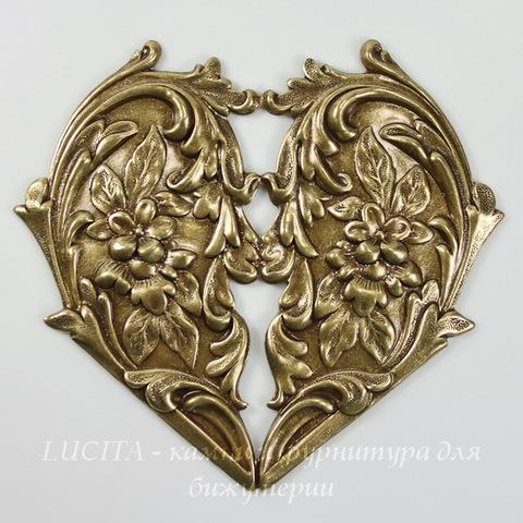 """Винтажный декоративный элемент - штамп """"Сердце с цветами"""" 65х60 мм (оксид латуни)"""