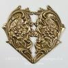 """Винтажный декоративный элемент - штамп """"Сердце с цветами"""" 65х60 мм (оксид латуни) ()"""