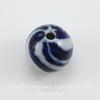 """Бусина фарфоровая шарик """"Спирали"""", цвет - синий с серым, 10 мм"""