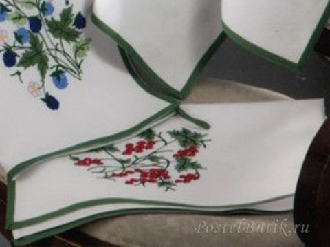 Полотенце 50х70 Ricami Baldini Красная смородина белое